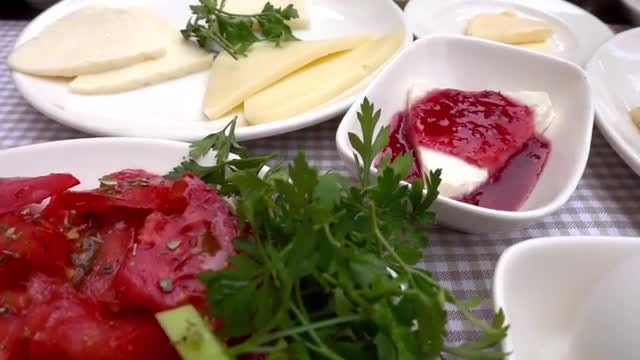 Cheeses With Traditional Turkish Breakfast: Stock Video