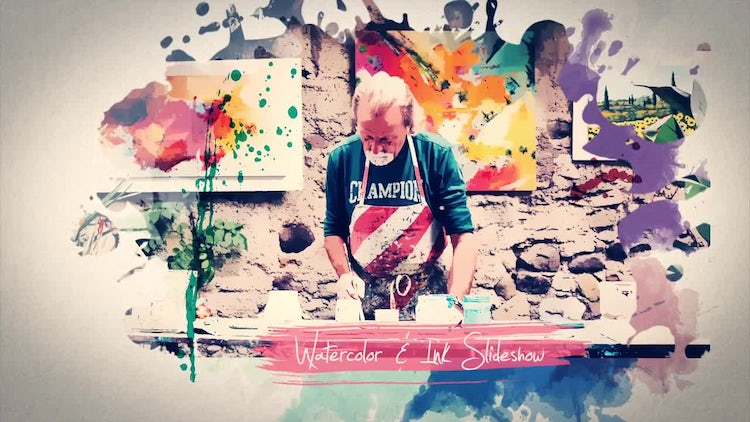 Watercolor & Ink Slideshow: After Effects Templates