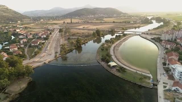 Aerial Shot Of Lagoon : Stock Video