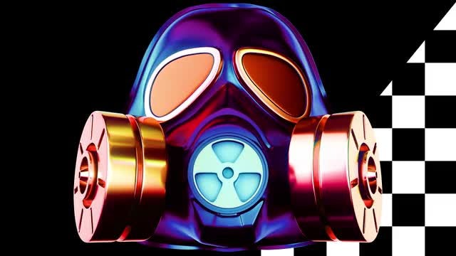 Pulsing Gas Mask VJ Loop: Stock Motion Graphics