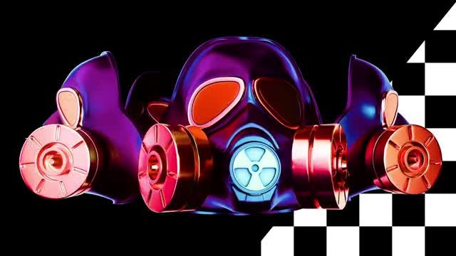Gas Masks Rotation VJ Loop: Stock Motion Graphics
