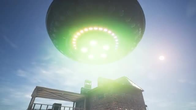 UFO Flying Over A House: Stock Motion Graphics