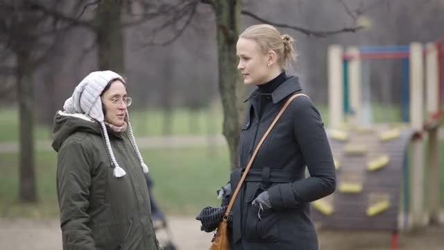 Women Talking Outside: Stock Video