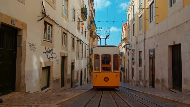 Traditional Funicular In Lisbon, Portugal: Stock Video