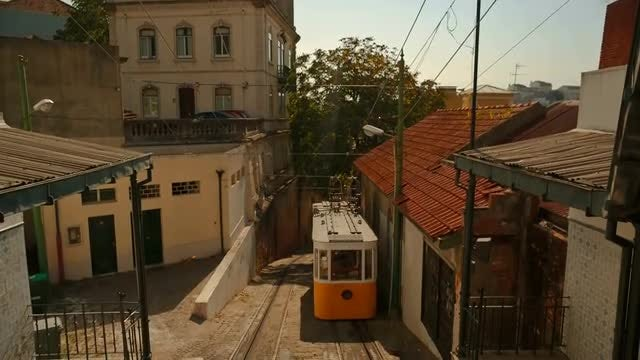 Lavra Funicular In Lisbon: Stock Video