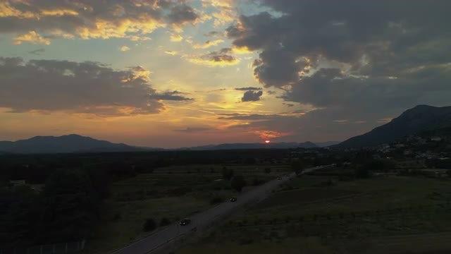 Aerial Shot Of Rural Road: Stock Video