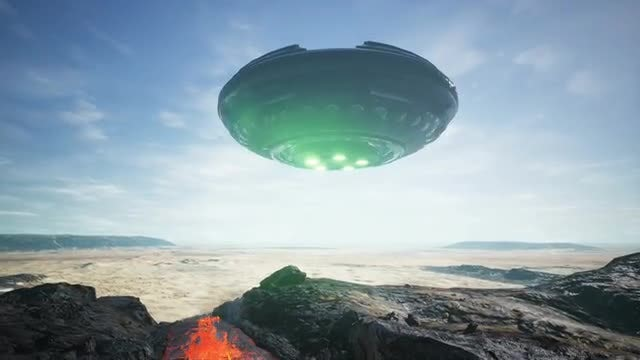 UFO Lands In The Desert: Stock Motion Graphics