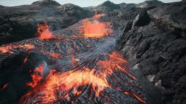 Lava Flowing From Volcano: Stock Motion Graphics