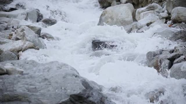 Foamy River Flowing Over Rocks : Stock Video