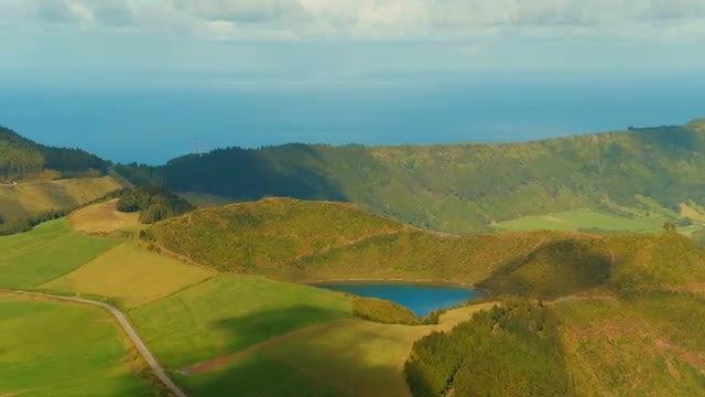 Santiago Lagoon And Surrounding Landscape: Stock Video