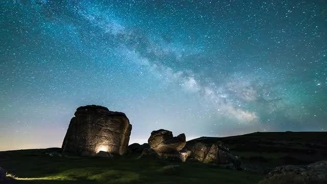 Milky Way Sky Over Dartmoor : Stock Video