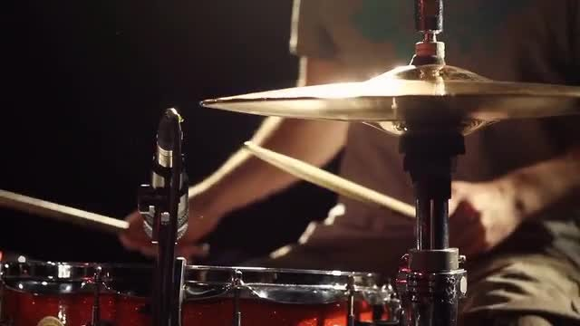 Man Playing Drums In Studio: Stock Video