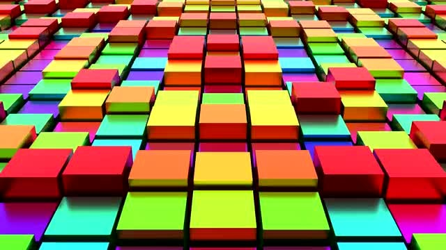 Loopable Metallic Rainbow Cubes: Stock Motion Graphics