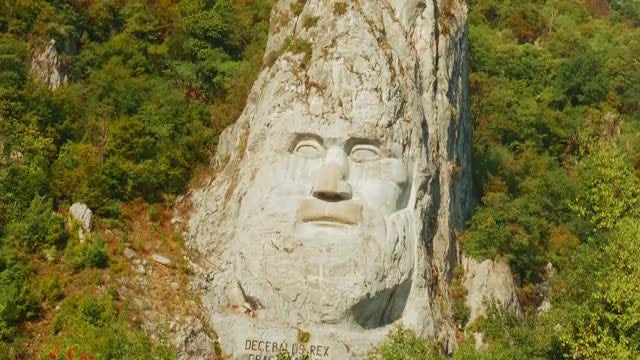 Famous Decebalus Rock Sculpture : Stock Video