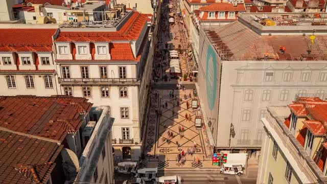 Aerial Time-lapse Of Lisbon Downtown: Stock Video