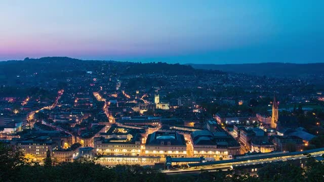 Sunset Over Historic Town Of Bath : Stock Video