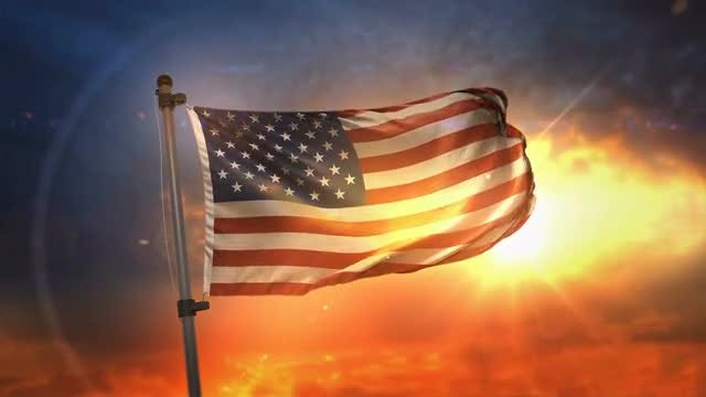 American Flag Backlit At Sunrise Loop: Stock Motion Graphics