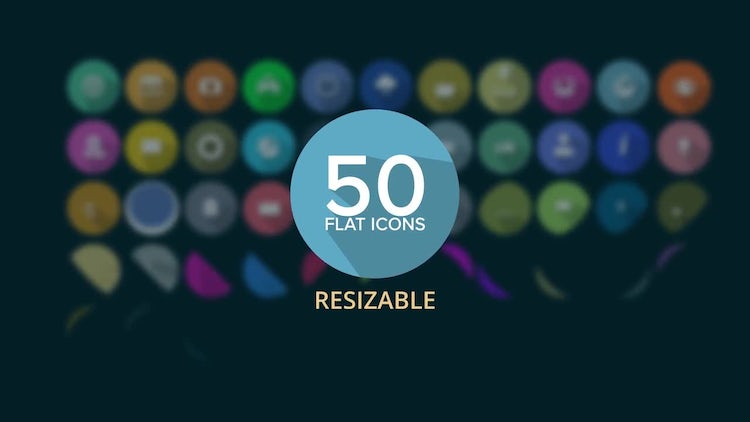 50 Flat Icons: After Effects Templates