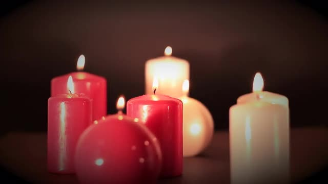 Lighting Colorful Candles: Stock Video