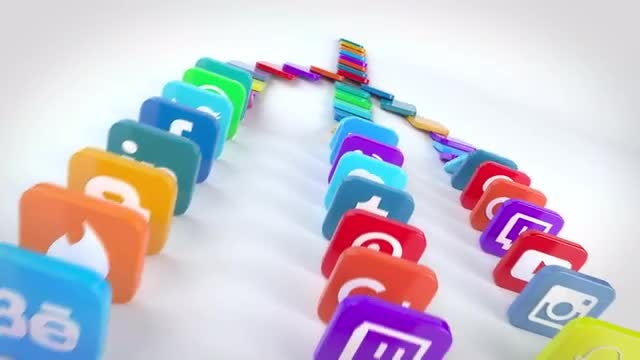 Social Media Falling Dominoes: After Effects Templates