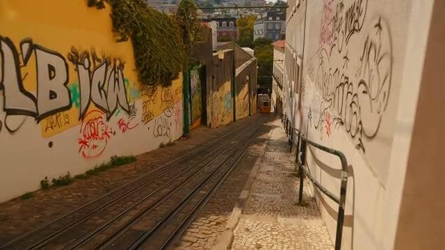 Walking Towards The Lavra Funicular: Stock Video