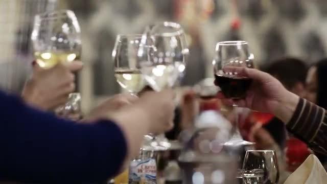 Toasting During Celebration: Stock Video