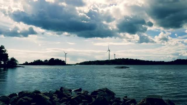 Wind Turbines In Beautiful Landscape: Stock Video