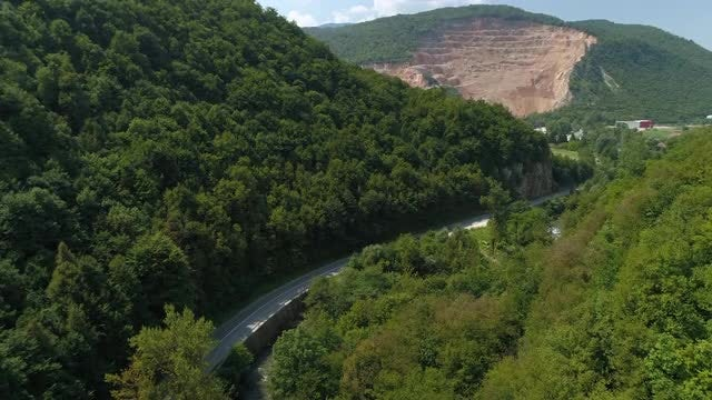 Aerial View Of Winding Road: Stock Video