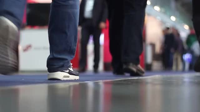 People Walk Around The Mall : Stock Video