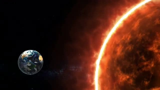 Sun And Earth In Space: Stock Motion Graphics