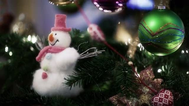 Christmas Toys On Shiny Tree: Stock Video