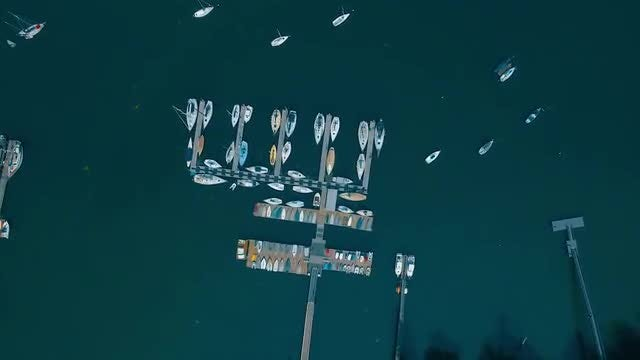 Aerial Shot Of A Harbor: Stock Video
