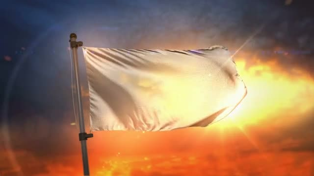 White Flag At Sunrise: Stock Motion Graphics