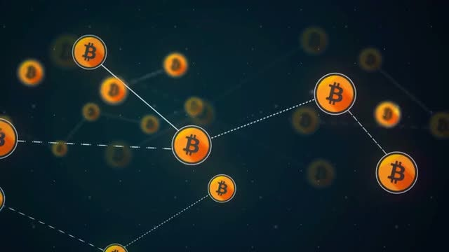Bitcoin Network Link Connection Loop: Stock Motion Graphics