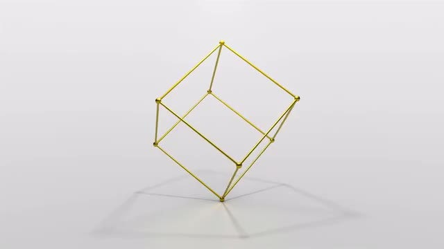 Gold Outline Cube 4K Loop: Stock Motion Graphics