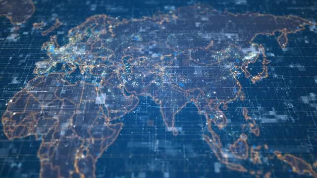 Blue-Silver Digital World Map: Stock Motion Graphics