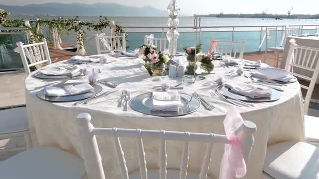 Beautifully Decorate Wedding Tables: Stock Video