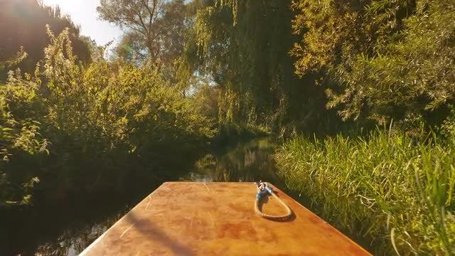 POV Boat Ride on River: Stock Video
