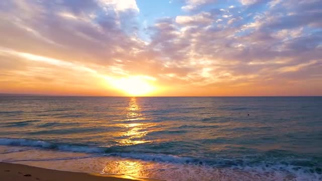 Gold And Blue Ocean Sunrise: Stock Video