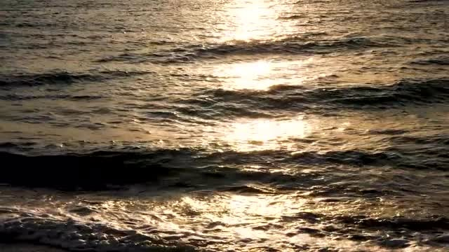 Golden Sunset Reflection In Sea: Stock Video