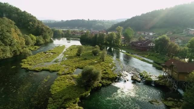 Aerial Shot Of Water Pond: Stock Video