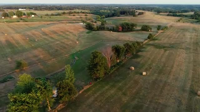 Aerial Shot Of Expansive Farmland: Stock Video