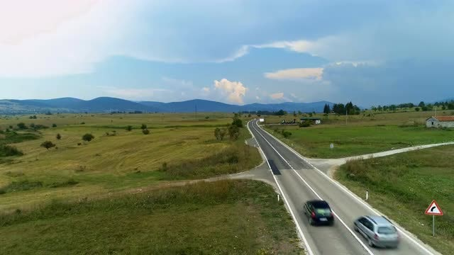Aerial Shot Of Rural Highway: Stock Video