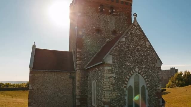 Roman Lighthouse And Medieval Church: Stock Video