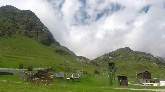 Industrial Cargo Forklift In Mountains: Stock Video
