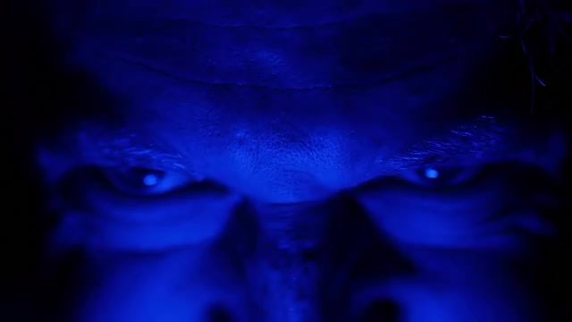 Horror Face And Blue Light: Stock Video