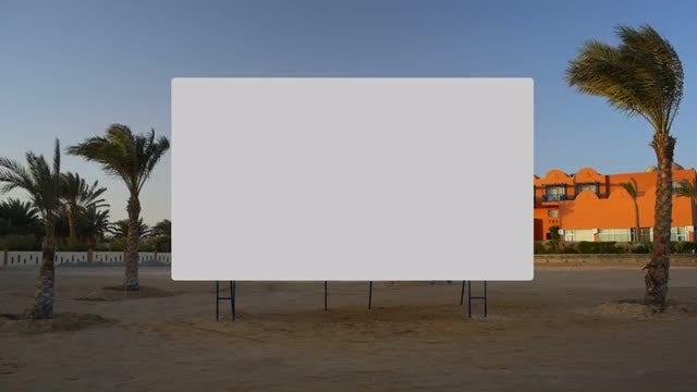 Black Billboard On The Beach: Stock Video