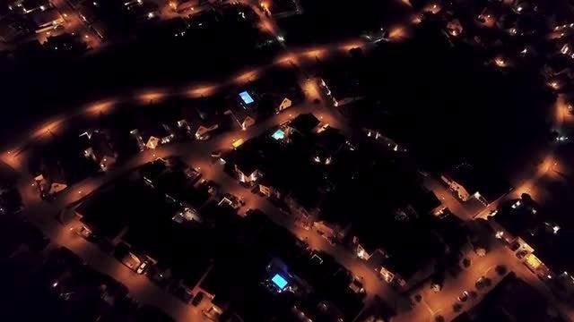 Suburban Area At Night: Stock Video