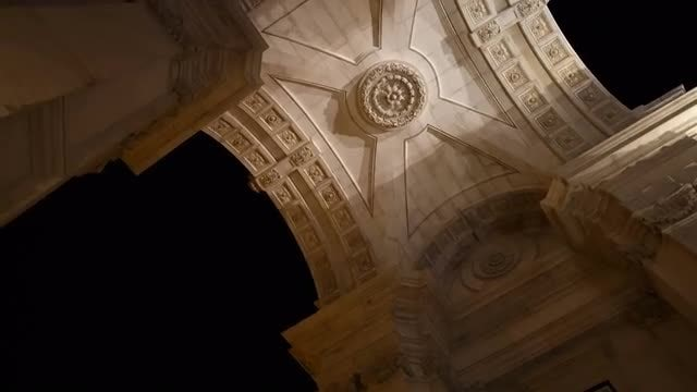 Augusta Arch In Lisbon - Nighttime: Stock Video