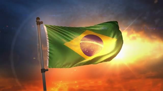 Brazil Flag During Sunrise Loop: Stock Motion Graphics